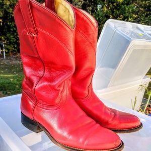 Wrangler Red Leather Boots Sz 7.5